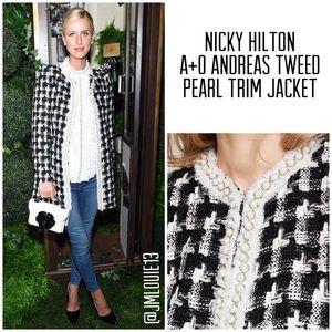 Alice + Olivia Andreas Tweed Pearl Trim Jacket